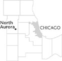north aurora is located on the